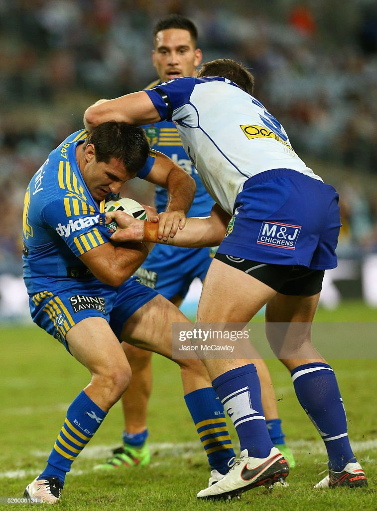 Isaac De Gois of the Eels is tackled during the round nine NRL match between the Parramatta Eels and the Canterbury Bulldogs at ANZ Stadium on April 29, 2016 in Sydney, Australia.