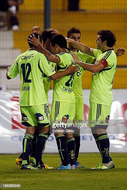 Isaac D'iaz of Universidad de Chile celebrates after scoring during a match between Deportes Iquique and Universidad de Chile as part of the Torneo...