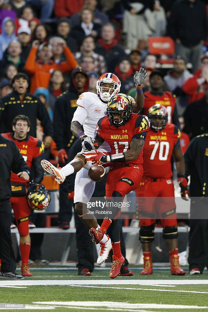 Isaac Goins #17 of the Maryland Terrapins defends a pass intended for Martavis Bryant #1 of the Clemson Tigers during the game at Byrd Stadium on October 26, 2013 in College Park, Maryland. Clemson won 40-27.