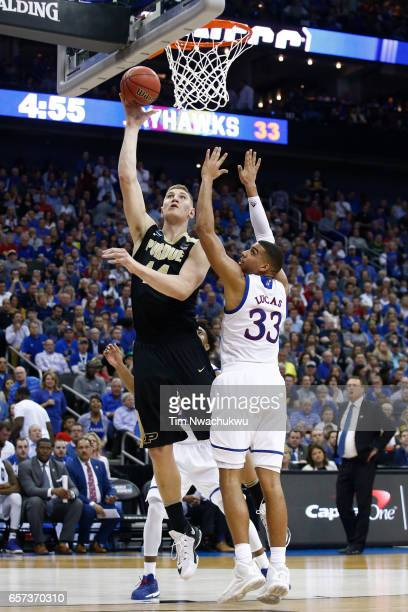 Isaac Haas of the Purdue Boilermakers attempts a layup during the 2017 NCAA Men's Basketball Tournament held at Sprint Center on March 23 2017 in...