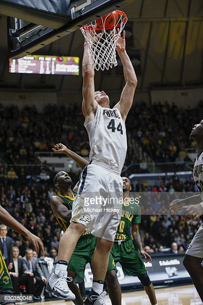 Isaac Haas of the Purdue Boilermakers goes up for the ball against the Norfolk State Spartans at Mackey Arena on December 21 2016 in West Lafayette...