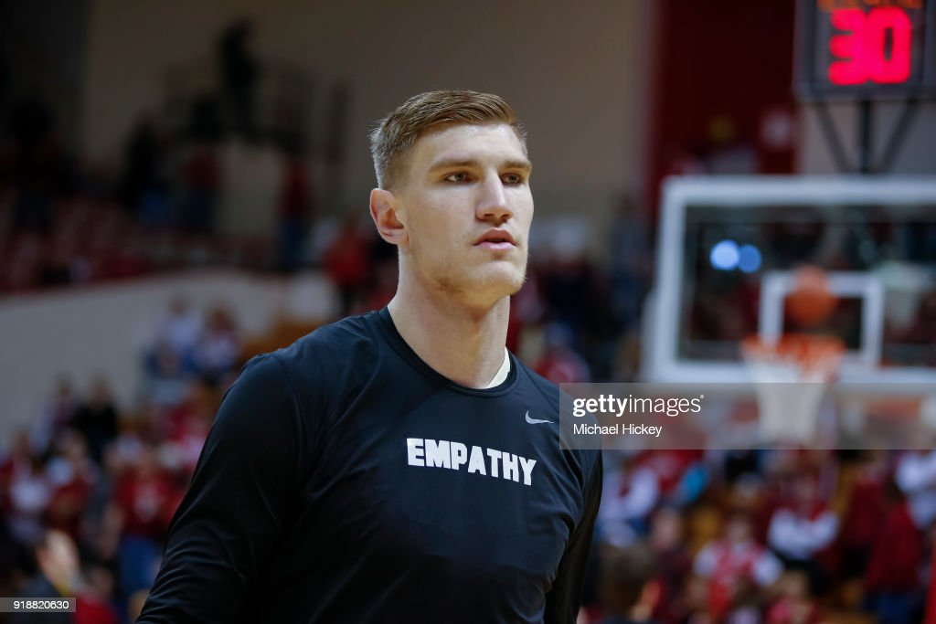Isaac Haas #44 of the Purdue Boilermakers is seen before the game against the Indiana Hoosiers at Assembly Hall on January 28, 2018 in Bloomington, Indiana.