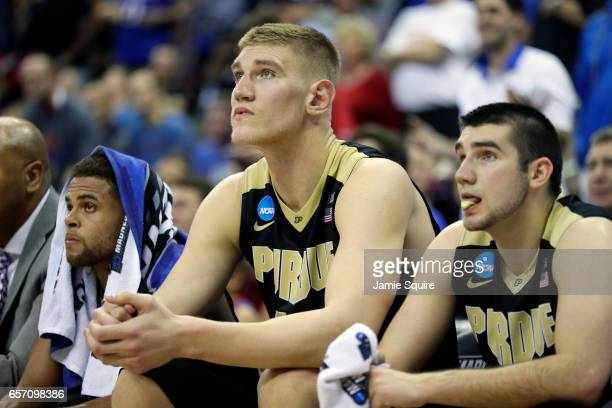 Isaac Haas of the Purdue Boilermakers looks on from the bench against the Kansas Jayhawks during the 2017 NCAA Men's Basketball Tournament Midwest...