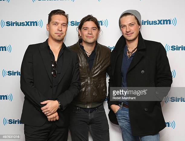 Isaac Hanson Zac Hanson and Taylor Hanson of Hanson visit at SiriusXM Studios on October 16 2015 in New York City