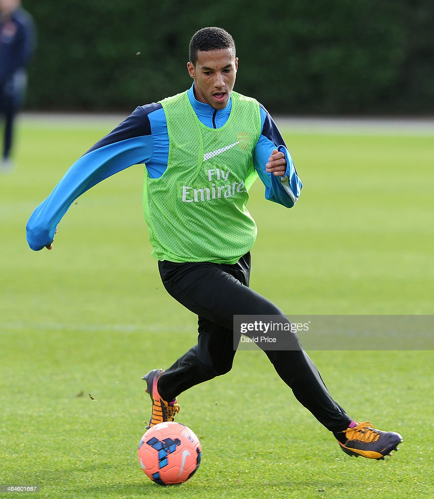 Isaac Hayden of Arsenal during Arsenal Training Session at London Colney on January 23, 2014 in St Albans, England.