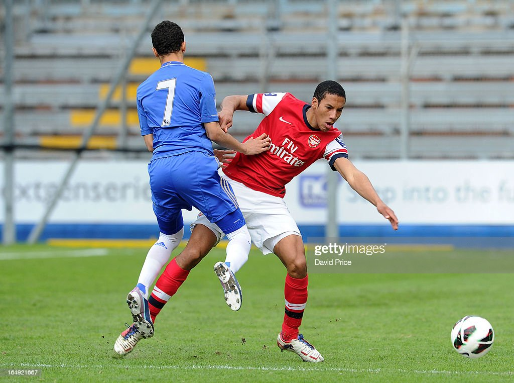 Isaac Hayden of Arsenal is fouled by Alex Kiwomya of Chelsea during the NextGen Series Semi Final match between Arsenal and Chelsea at Stadio Guiseppe Sinigallia on March 29, 2013 in Como, Italy.
