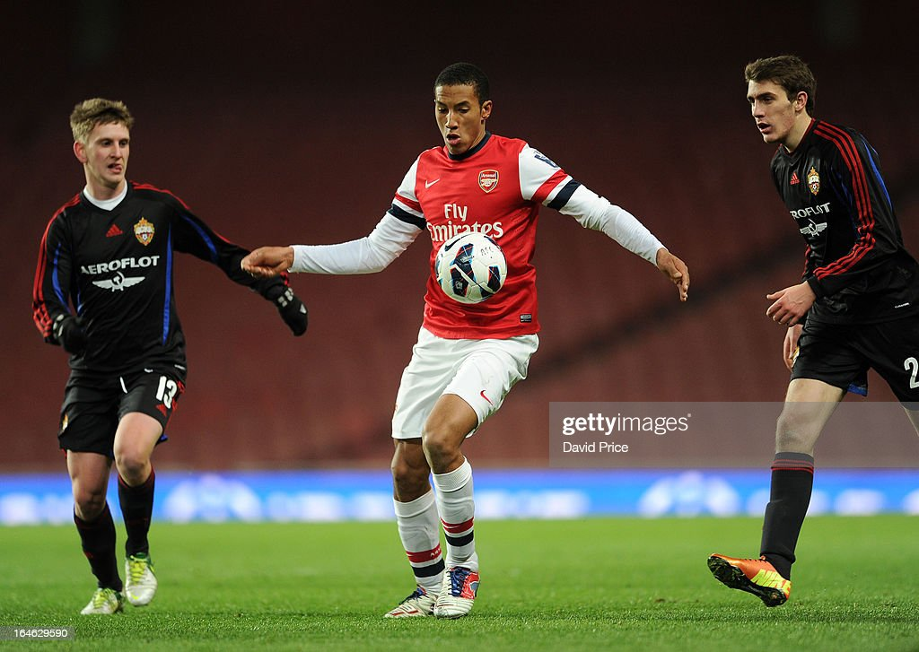 Isaac Hayden of Arsenal takes on Svyatoslav Georgievsky and Konstantin Bazelyuk of CSKA during the NextGen Series Quarter Final match between Arsenal and PFC CSKA at Emirates Stadium on March 25, 2013 in London, England.