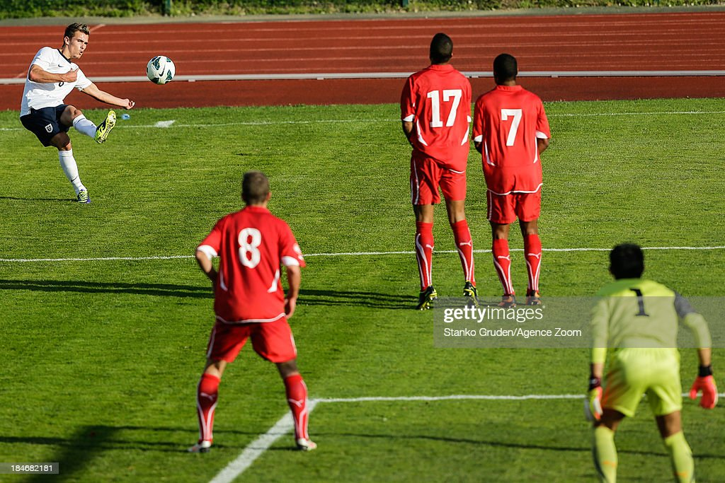 Isaac Hayden of England in action during the UEFA U19 Championships Qualifier between England and Switzerland, on October 15, 2013 in Ptuj, Slovenia.