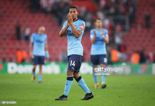 Isaac Hayden of Newcastle United applauds the travelling fans after the Premier League match between Southampton and Newcastle United at St Mary's...