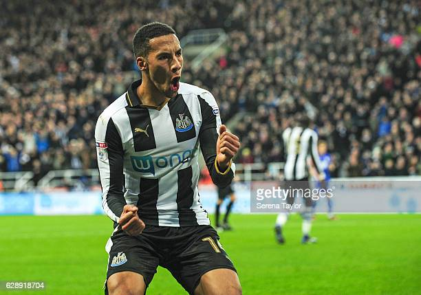 Isaac Hayden of Newcastle United celebrates after he assists Dwight Gayle for the second goal during the Sky Bet Championship match between Newcastle...