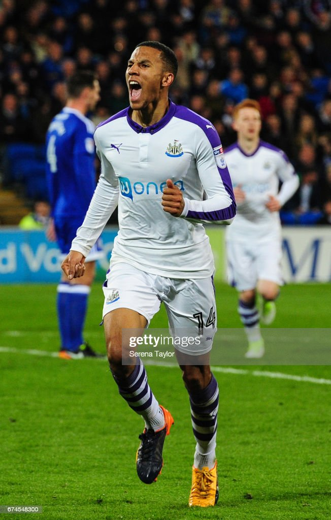 Isaac Hayden of Newcastle United (14) celebrates after he scores Newcastle's second goal during the Sky Bet Championship match between Cardiff City and Newcastle United at the Cardiff City Stadium on April 28, 2017 in Cardiff, Wales.
