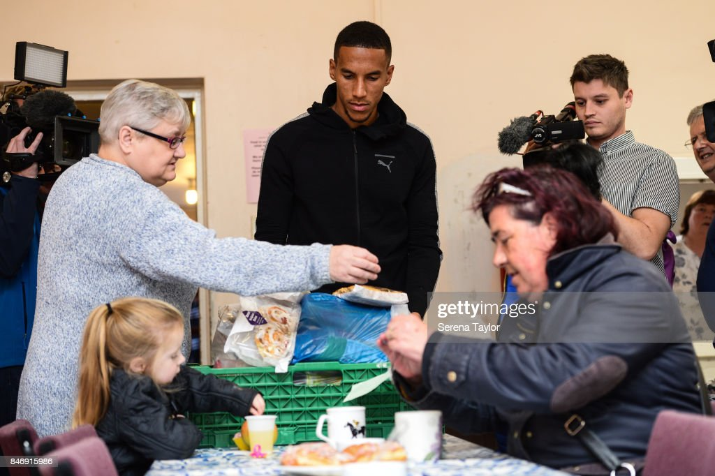 Isaac Hayden of Newcastle United poses for photos during a visit to Newcastle West End Foodbank on September 14, 2017, in Newcastle upon Tyne, England.