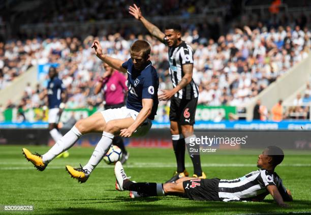 Isaac Hayden of Newcastle United tackles Eric Dier of Tottenham Hotspur during the Premier League match between Newcastle United and Tottenham...