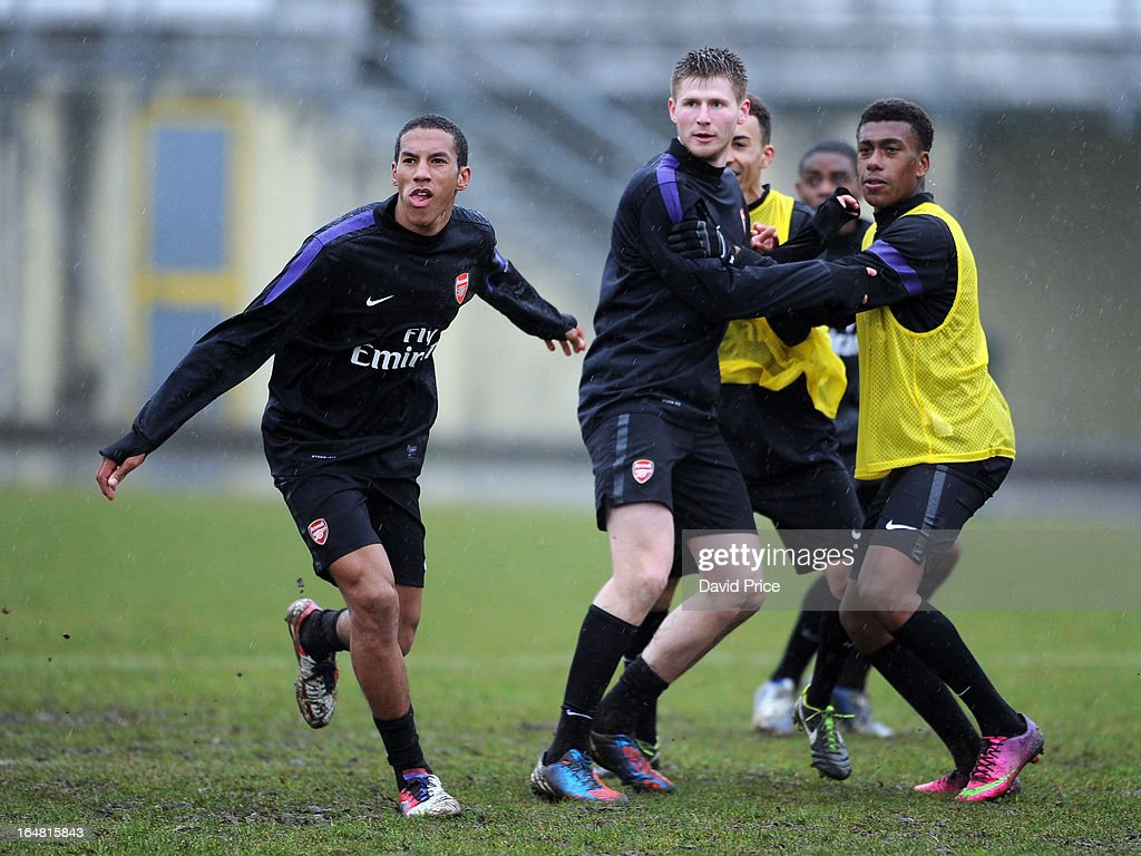 Isaac Hayden Sead hajrovic and Alex Iwobi of Arsenal in action during a training session prior to the NextGen Series Semi Final match between Arsenal...