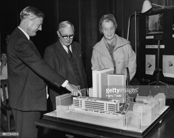 Isaac Hayward Leader of the London County Council holds a press conference at County Hall in London to discuss new buildings for further education...