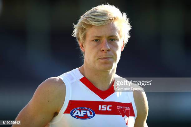 Isaac Heeney looks on during a Sydney Swans AFL training session at Sydney Cricket Ground on July 20 2017 in Sydney Australia