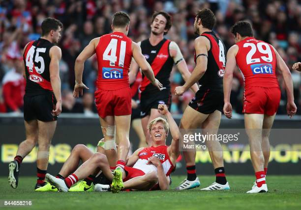 Isaac Heeney of the Swans celebrates a goal during the AFL Second Elimination Final match between the Sydney Swans and the Essendon Bombers at Sydney...