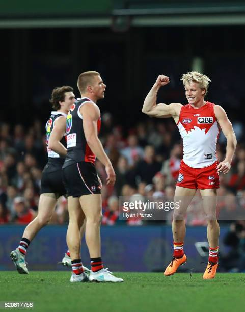 Isaac Heeney of the Swans celebrates a goal during the round 18 AFL match between the Sydney Swans and the St Kilda Saints at Sydney Cricket Ground...