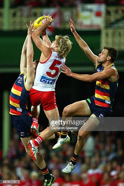 Isaac Heeney of the Swans marks during the round 18 AFL match between the Sydney Swans and the Adelaide Crows at Sydney Cricket Ground on August 1...