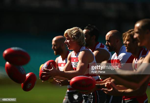 Isaac Heeney of the Swans trains during a Sydney Swans AFL training session at Sydney Cricket Ground on September 15 2015 in Sydney Australia