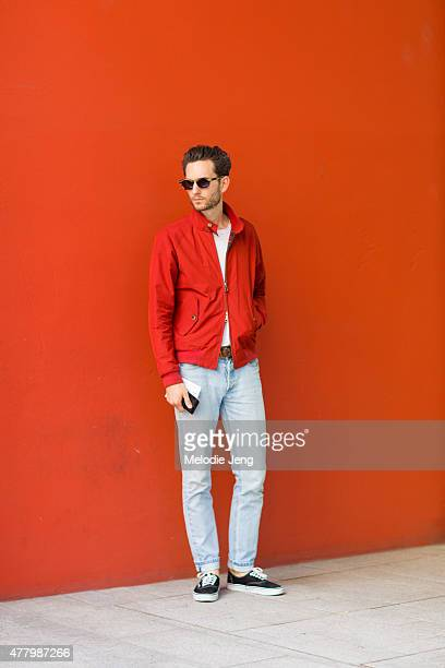 Isaac Hindin Miller wears Lewis Fredericks sunglasses a Baracuta jacket AS Colour shirt Maximum Henry belt APC jeans and Vans sneakers during Milan...