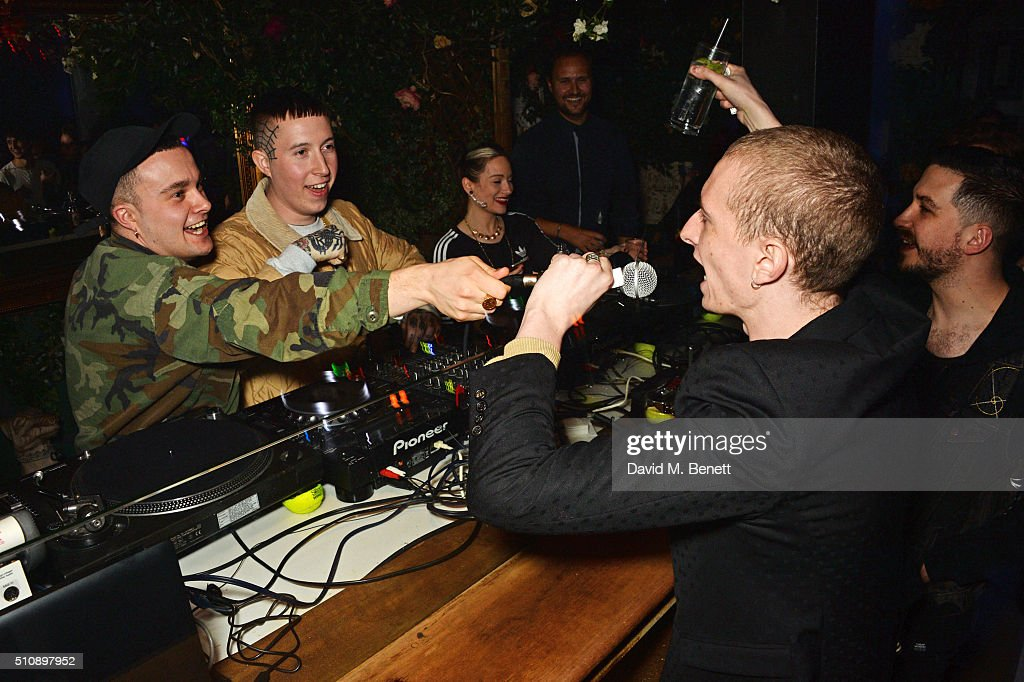 Isaac Holman Laurie Vincent and Theo Ellis DJ at the Ciroc NME Awards 2016 after party hosted by Fran Cutler at The Cuckoo Club on February 17 2016...