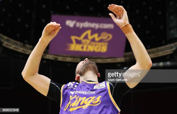 Isaac Humphries of the Kings reacts during the round one NBL match between the Sydney Kings and the Adelaide 36ers at Qudos Bank Arena on October 7...