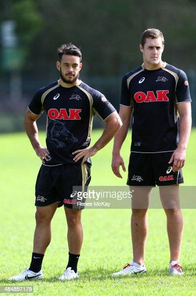 Isaac John and Isaah Yeo arrive during a Penrith Panthers NRL training session at Sportingbet Stadium on April 15 2014 in Sydney Australia