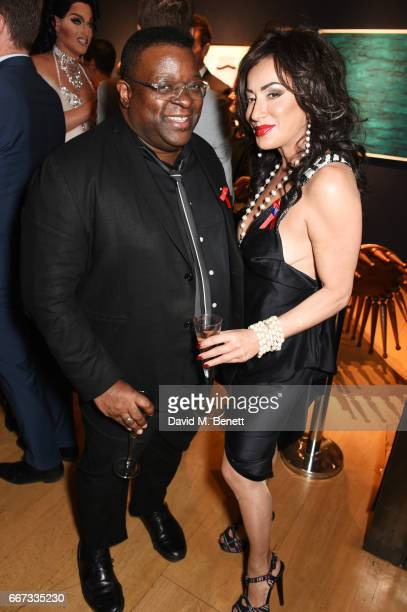 Isaac Julien and and Nancy Dell'Olio attend Terrence Higgins Trust The Auction in support of people living with HIV at Christie's on April 11 2017 in...