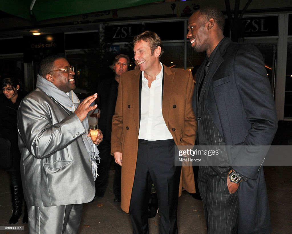 Isaac Julien; Jochen Zeitz and Usain Bolt attend the Zeitz Foundation and ZSL gala at London Zoo on November 22, 2012 in London, England.