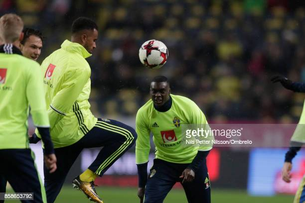 Isaac Kiese Thelin and Ken Sema of Sweden ahead of the FIFA 2018 World Cup Qualifier between Sweden and Luxembourg at Friends Arena on October 7 2017...
