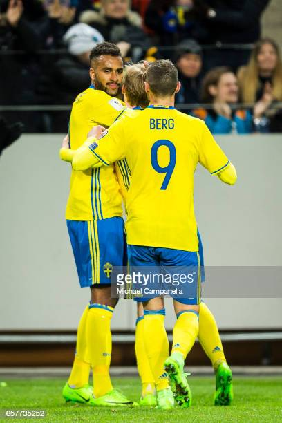 Isaac Kiese Thelin Emil Forsberg and Marcus Berg celebrate thee 40 goal during the FIFA 2018 World Cup Qualifier between Sweden and Belarus at...