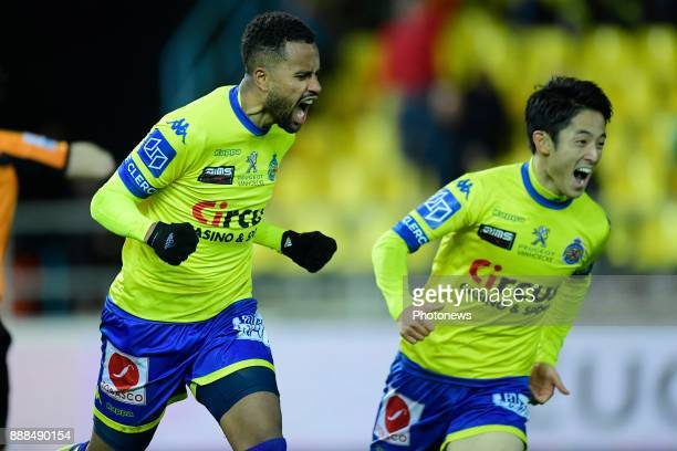 Isaac Kiese Thelin forward of Beveren celebrates scoring a goal with teammate Ryota Morioka forward of Beveren during the Jupiler Pro League match...