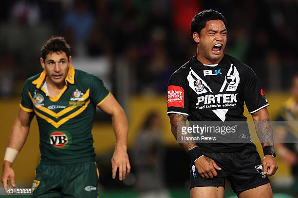 Isaac Luke of the Kiwis celebrates after scoring the opening try during the ANZAC Test match between the New Zealand Kiwis and the Australian...