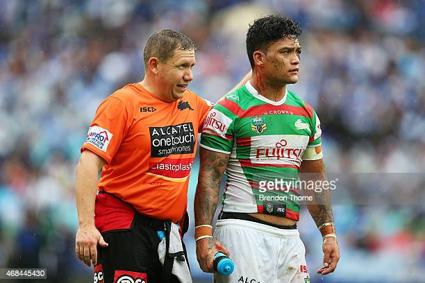 Isaac Luke of the Rabbitohs leaves the field after sustaining a head knock during the round five NRL match between the Canterbury Bulldogs and the...