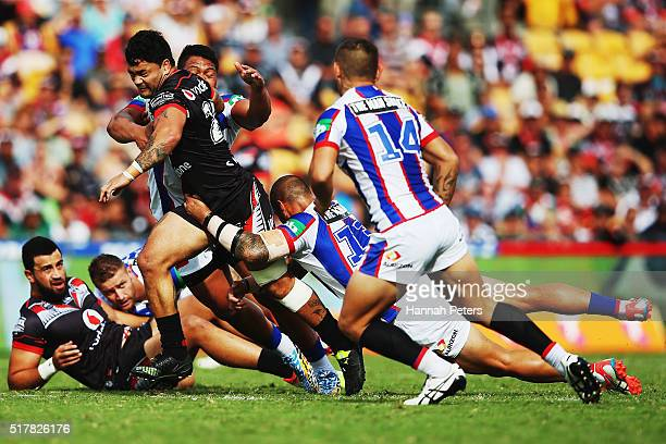 Isaac Luke of the Warriors charges forward during the round four NRL match between the New Zealand Warriors and the Newcastle Knights at Mt Smart...