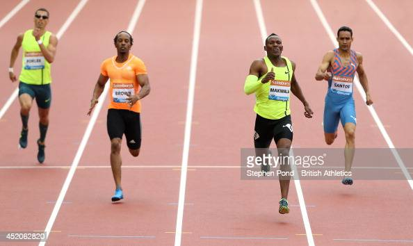 Isaac Makwala of Botswana leads to win the Men's 400m event during day two of the Sainsbury's Glasgow Grand Prix Diamond League athletics meeting at...