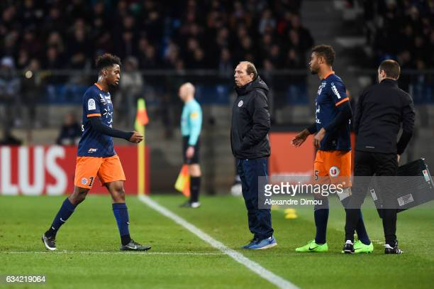 Isaac Mbenza and Jean Louis Gasset and Steve Mounie of Montpellier during the French Ligue 1 match between Montpellier and Monaco at Stade de la...