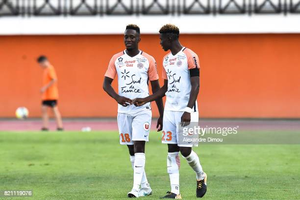 Isaac Mbenza and Nordi Mukiele of Montpellier during the friendly match between Montpellier Herault and Toulouse Fc on July 22 2017 in Narbonne France