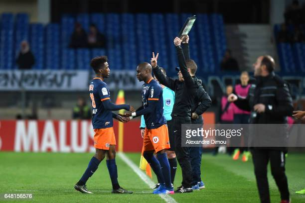 Isaac Mbenza and Yacouba Sylla of Montpellier during the French Ligue 1 match between Montpellier and Guingamp at Stade de la Mosson on March 4 2017...