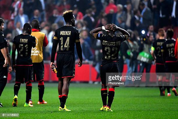 Isaac Mbenza forward of Standard Liege Collins Fai defender of Standard Liege during the Europa League group G game between Ajax Amsterdam and...