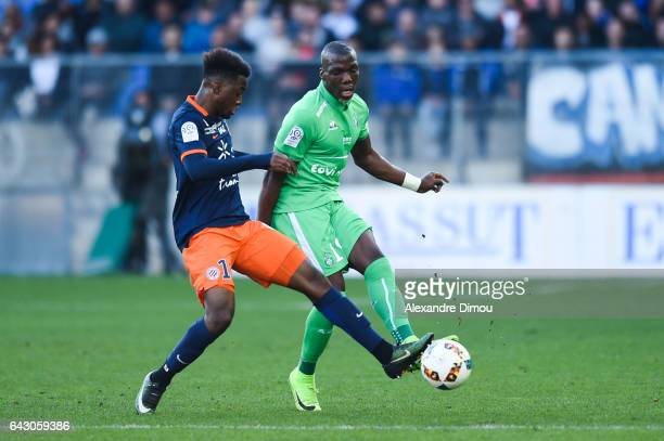 Isaac Mbenza of Montpellier and Florentin Pogba of Saint Etienne during the French Ligue 1 match between Montpellier and Saint Etienne at Stade de la...