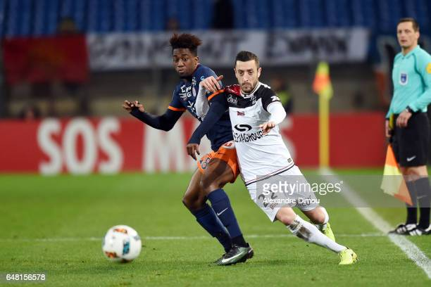 Isaac Mbenza of Montpellier and Jonathan Martins Pereira of Guingamp during the French Ligue 1 match between Montpellier and Guingamp at Stade de la...