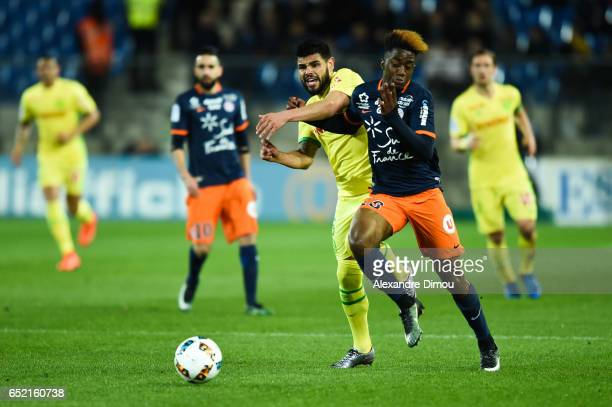 Isaac Mbenza of Montpellier and Lucas Alves De Lima of Nantes during the Ligue 1 match between Montpellier Herault and Fc Nantes at Stade de la...