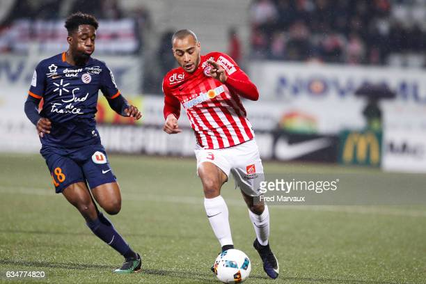 Isaac Mbenza of Montpellier and Tobias Badila of Nancy during the Ligue 1 match between As Nancy Lorraine and Montpellier Herault at Stade Marcel...