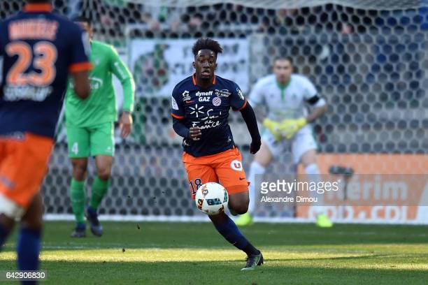 Isaac Mbenza of Montpellier during the French Ligue 1 match between Montpellier and Saint Etienne at Stade de la Mosson on February 19 2017 in...