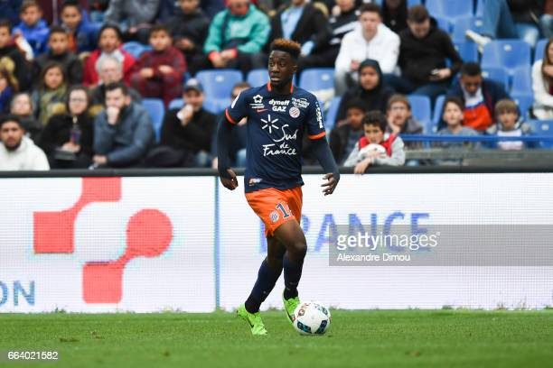 Isaac Mbenza of Montpellier during the French Ligue 1 match between Montpellier and Toulouse at Stade de la Mosson on April 2 2017 in Montpellier...