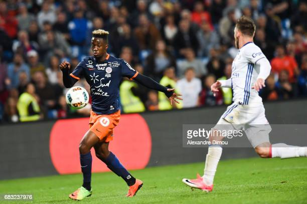 Isaac Mbenza of Montpellier during the Ligue 1 match between Montpellier and Olympique Lyonnais Lyon at Stade de la Mosson on May 14 2017 in...