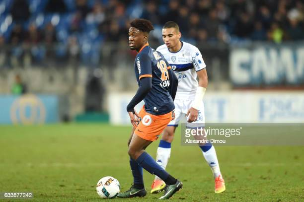 Isaac Mbenza of Montpellier during the Ligue 1 match between Montpellier Herault and SC Bastia at Stade de la Mosson on February 4 2017 in...