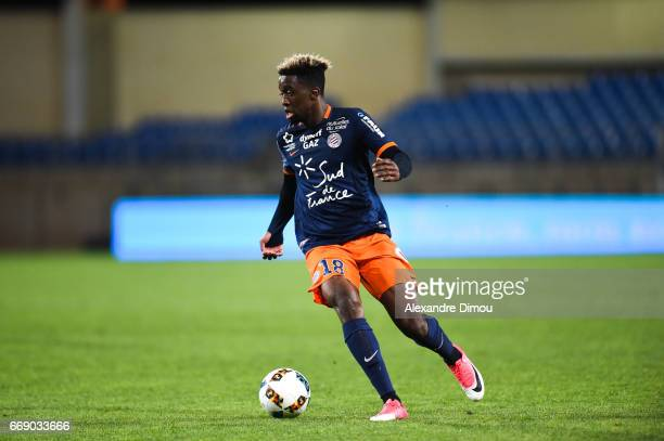 Isaac Mbenza of Montpellier during the Ligue 1 match between Montpellier Herault SC and Fc Lorient at Stade de la Mosson on April 15 2017 in...